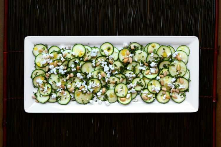Zucchini Carpaccio with Feta and Pine Nuts, Friday Night Snacks and More...
