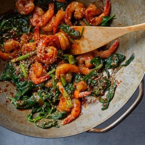 Stir-Fried Sesame Prawns and Spinach, Friday Night Snacks and More...