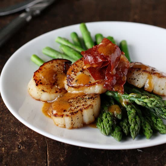 Asparagus with Scallops, Browned Butter and Prosciutto, Friday Night Snacks and More...