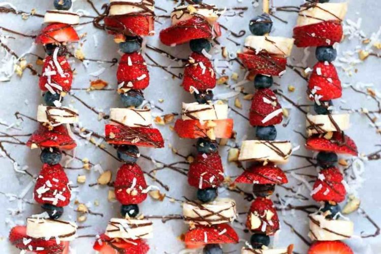 Chocolate Drizzled Fruit Kabobs, Friday Night Snacks and More...