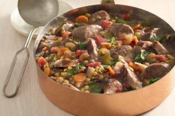 bratwurst and lentil