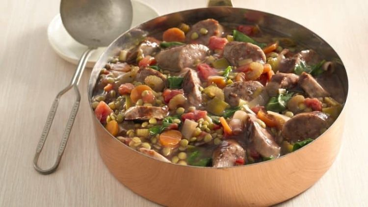 Lentil and Bratwurst Stew, Friday Night Snacks and More...