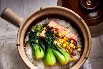 food & wine march 2020 clay pot cooking chinese sand pot: ginger crispy rice with salmon (bao zai fin)