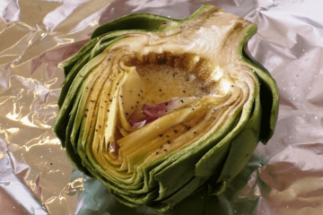grilled artichoke with butter and garlic herbs dads that cook